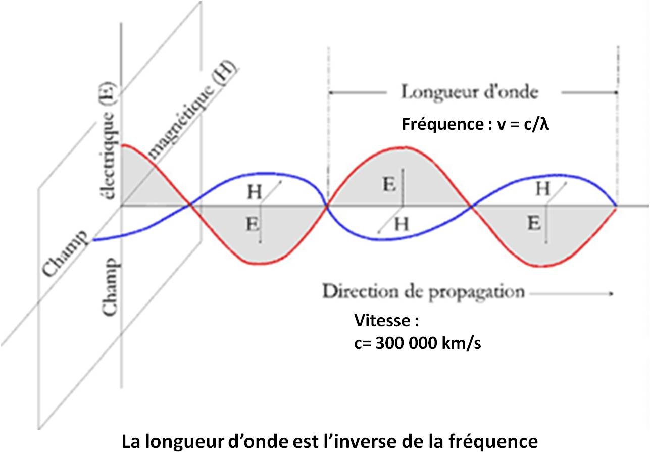 schéma 3: Longueur d'onde - Wavelength / direction de propagation - direction of propagation / champs magnétique - magnetic field / Champ électrique - electric field