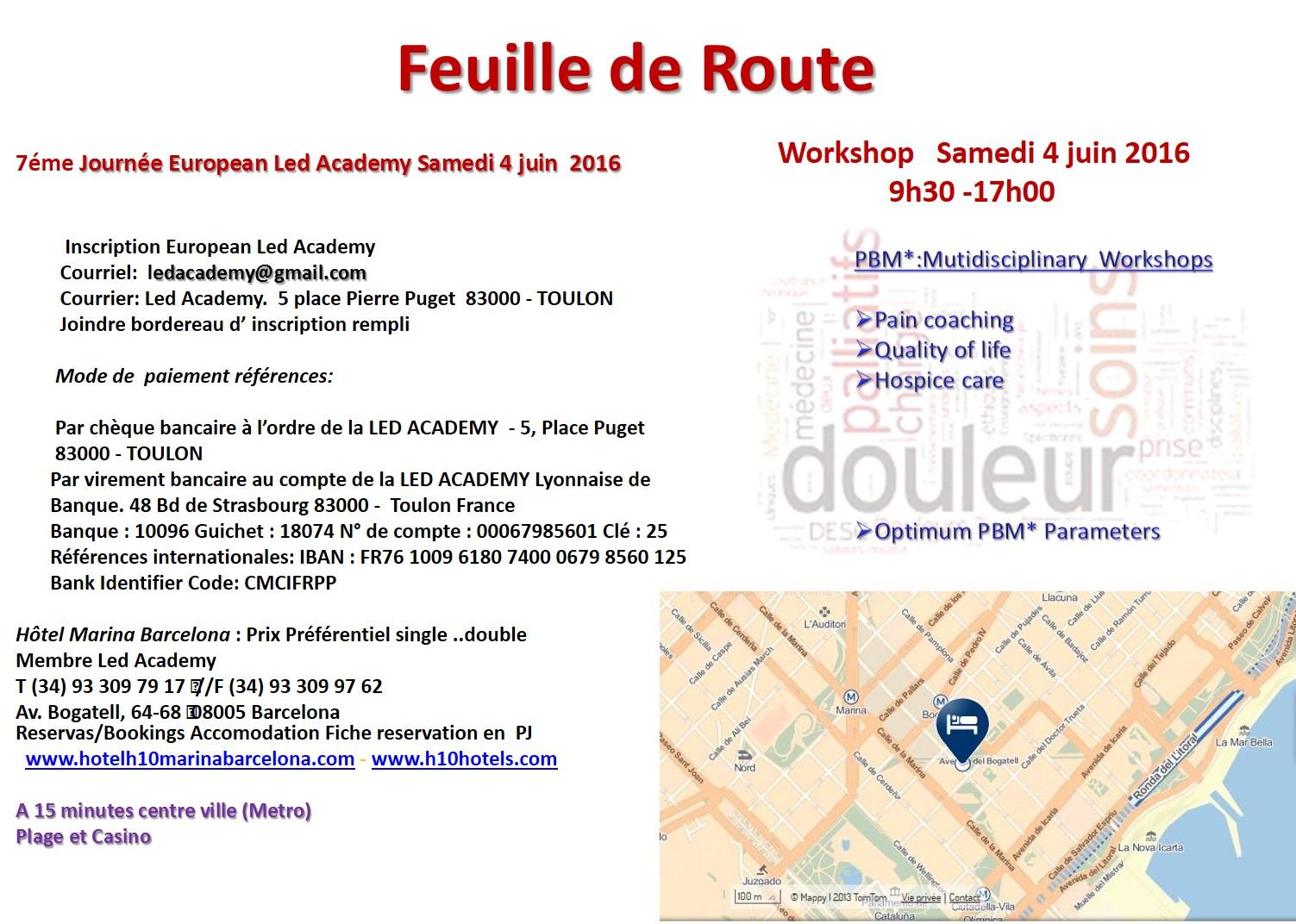 Feuille de route Barcelone 3 et 4 Juin 2016