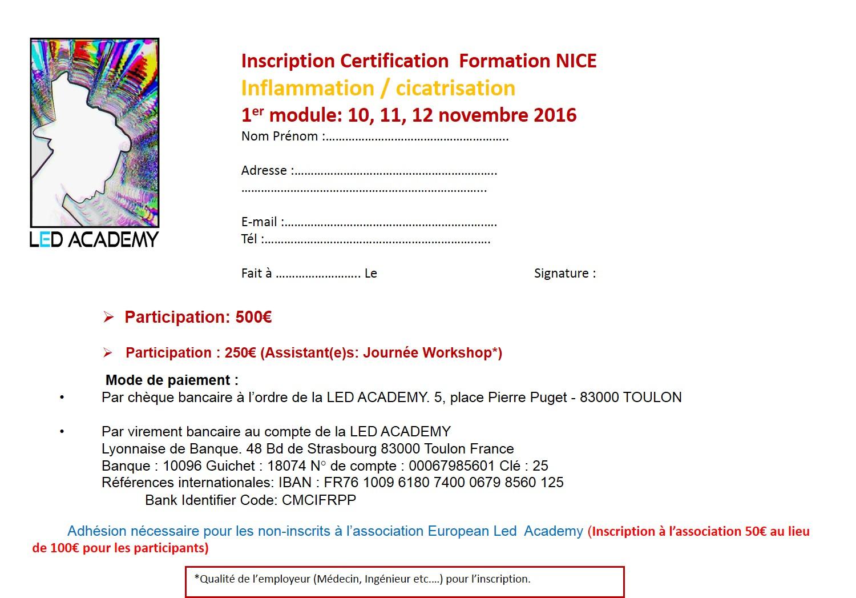 Formulaire inscription Nice 2016