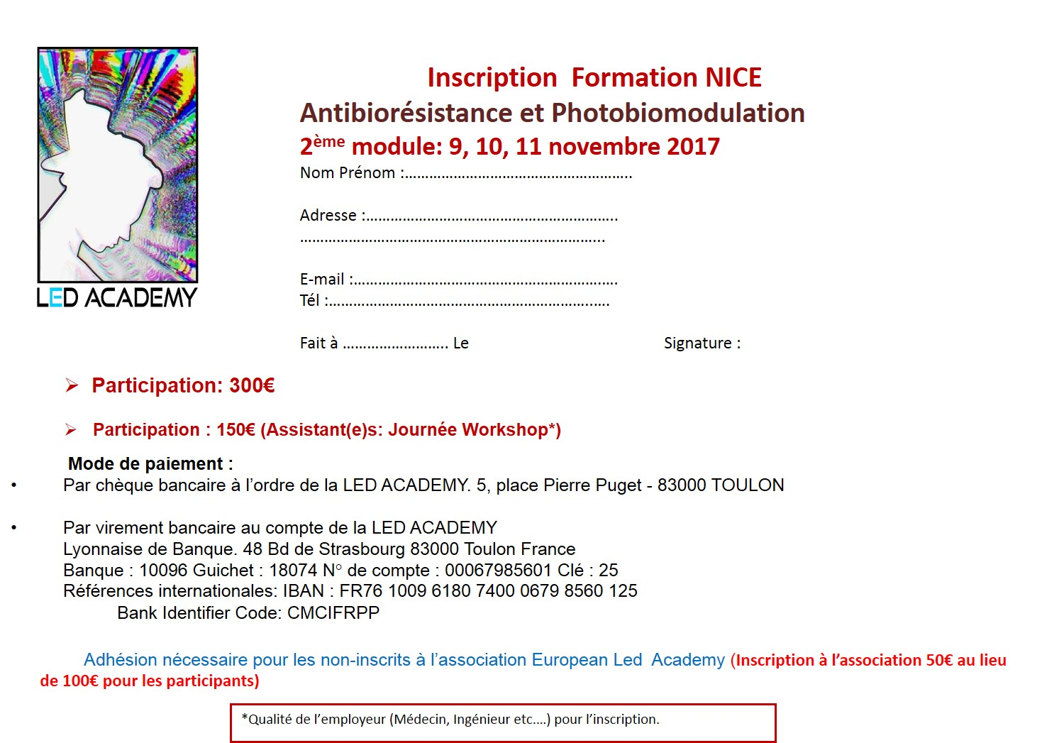 Fiche inscription Form Nice 2017