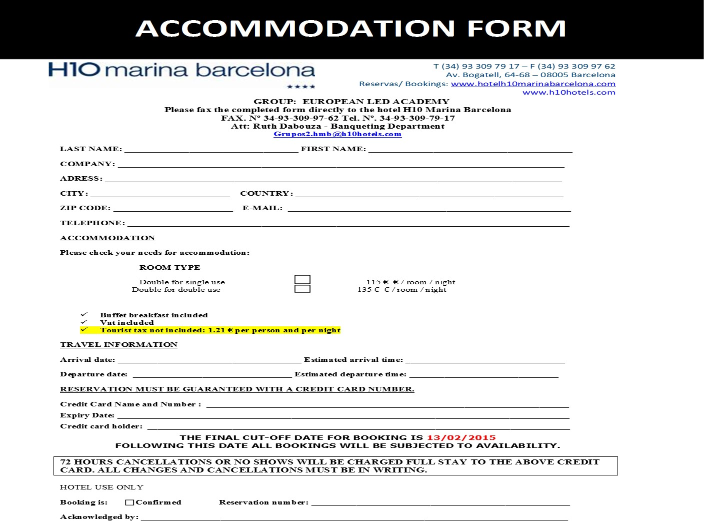 LED ACADEMY Barcelone  Accommodation Form