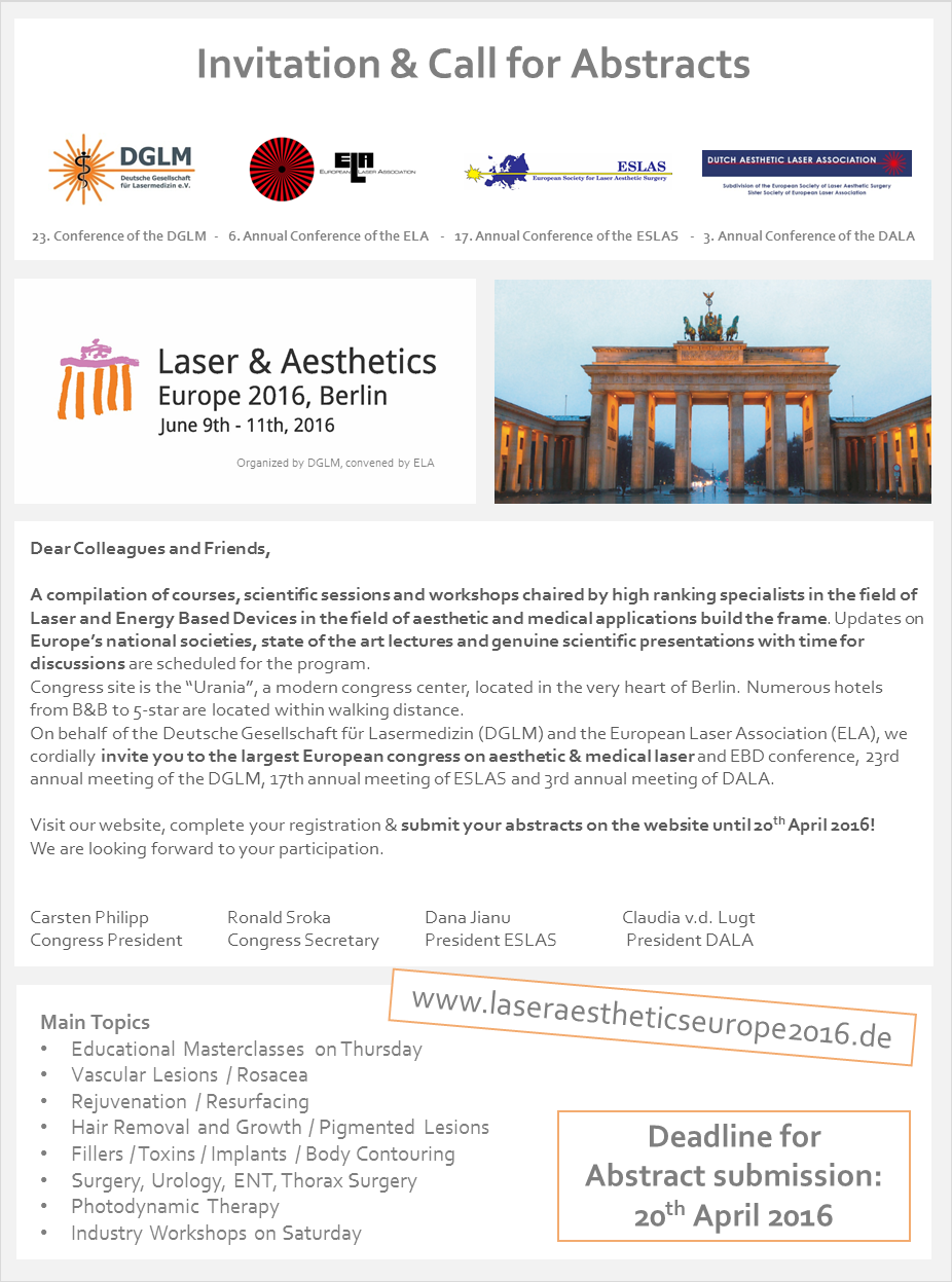 The Laser & Aesthetics Europe Congress comes to Berlin from June 9th to 11th 2016