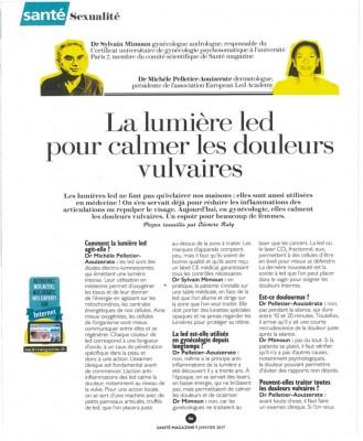 Article de presse Santé Magazine: La lumière LED pour calmer les douleurs vulvaires - Dr MIMOUN - Dr PELLETIER